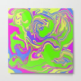 Neon Oil Spill Metal Print