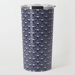 Butterfly Illustration // Geometric Butterfly Pattern // Dark Navy Blue and White Travel Mug