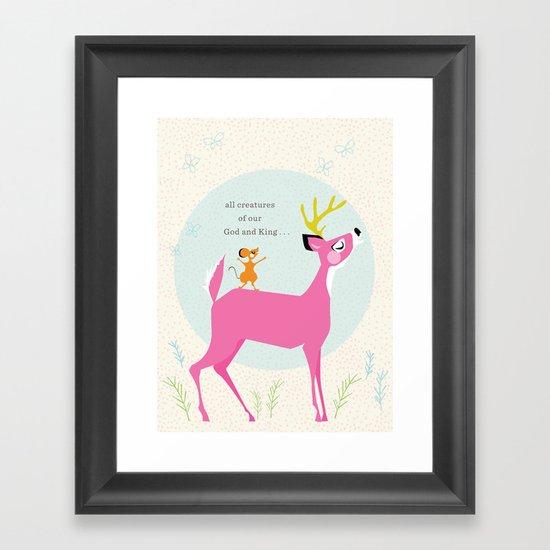 Deer & Mouse Singing Framed Art Print