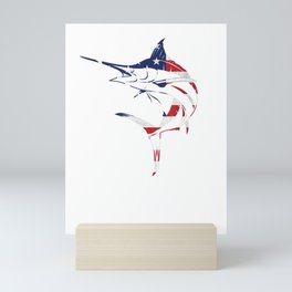 Fishing Gift Blue Marlin Fish American Flag USA 4th Of July T-Shirt Mini Art Print