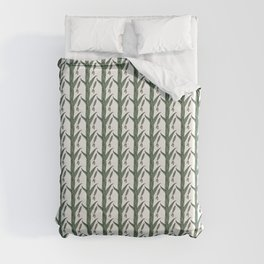 Green And Brown Chinese Praying Mantises On Green Leaves Duvet Cover