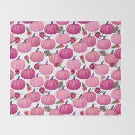 pink pumpkin fall watercolor, Thanksgiving Throw Blanket