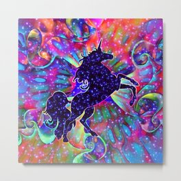 UNICORN OF THE UNIVERSE multicolored Metal Print