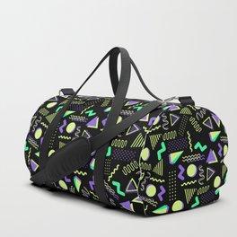 Geometrical retro lime green neon purple 80's abstract pattern Duffle Bag