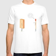 Light My Fire! White Mens Fitted Tee SMALL