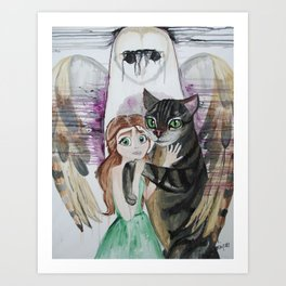 The Cat, The Girl, and The Owl Art Print