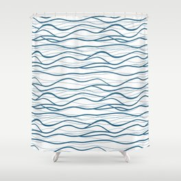 Seapattern. Hand drawn waves Shower Curtain