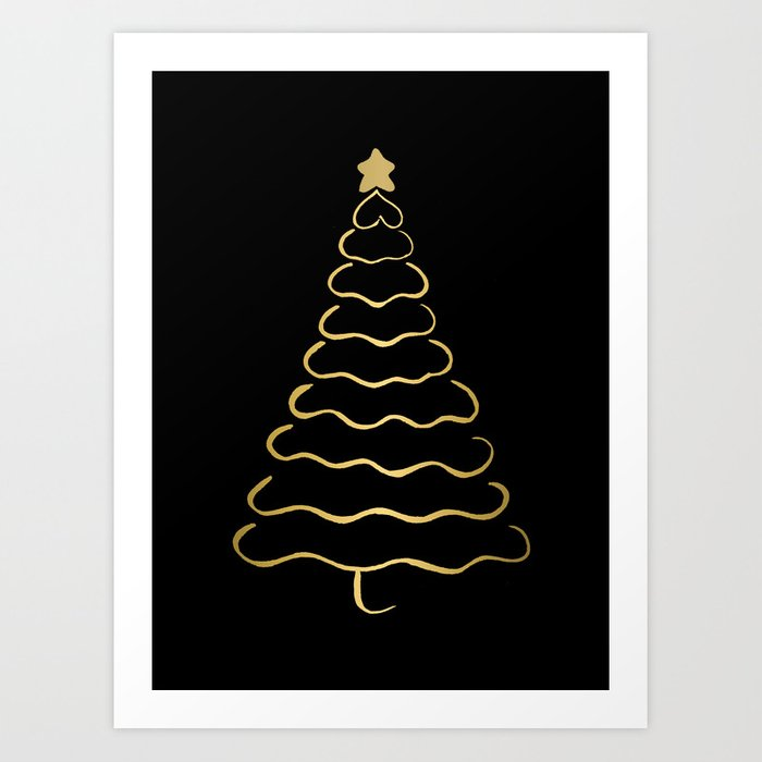 Minimalist Christmas.Minimalist Christmas Tree Black And Gold Art Print By Cynh