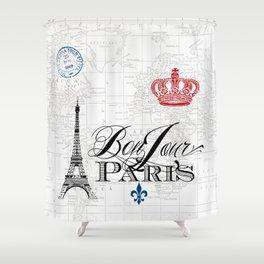 BonJour Paris Red White Blue Shower Curtain