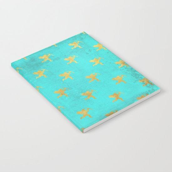 Gold Angels on aqua backround- pattern Notebook