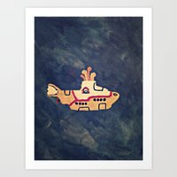 yellow submarine Art Prints featuring Yellow submarine by Pauline Fahlström