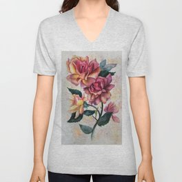 Fresh Tea Roses Unisex V-Neck