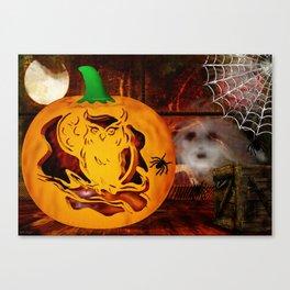 Sirens Pumpkin Carving Halloween Folk Art Canvas Print