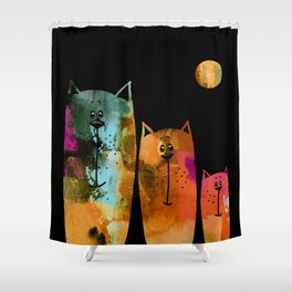 Cat Family at Night Shower Curtain