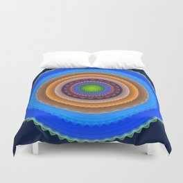 Colourful mandala with tribal patterns Duvet Cover