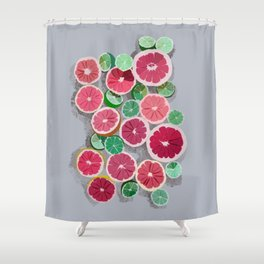 Juicy grapefruits on a gray background Shower Curtain
