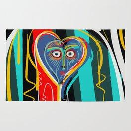 Blue heart Street Art Graffiti Rug
