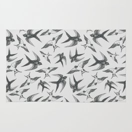 Swooping Swallows in Grey Rug