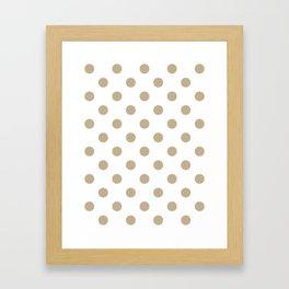 Polka Dots - Khaki Brown on White Framed Art Print
