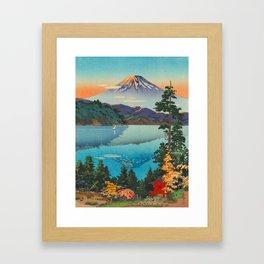 Tsuchiya Koitsu Vintage Japanese Woodblock Print Fall Autumn Mount Fuji Framed Art Print