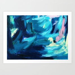 abstract blue painting Art Print