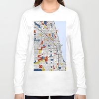 mondrian Long Sleeve T-shirts featuring Chicago Mondrian by Mondrian Maps