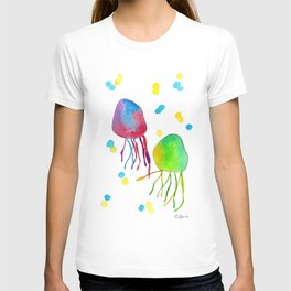 Hand in Hand - jellyfish illustration love tropical watercolor painting summer ocean beach T-shirt