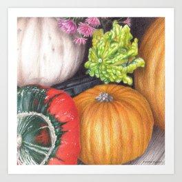 Pumpkins colored pencil illustration Art Print