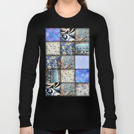 Faux Patchwork Quilting - Blues Long Sleeve T-shirt