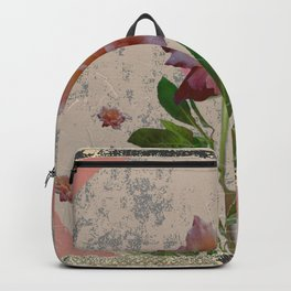 SHABBY CHIC CORAL ANTIQUE PINK ROSES Backpack