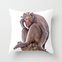 The Thinker Monkey Throw Pillow