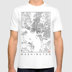 Washington Map Schwarzplan Only Buildings MEDIUM White Mens Fitted Tee