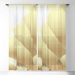 Golden Polygonal Background Sheer Curtain