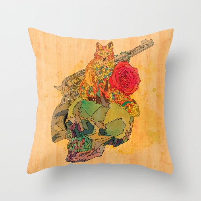 Fox & Rose Throw Pillow