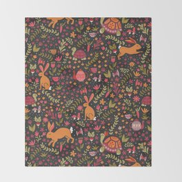 Tortoise and the Hare in Red Throw Blanket