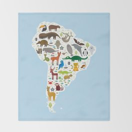 South America sloth anteater toucan lama bat fur seal armadillo boa manatee monkey dolphin Throw Blanket