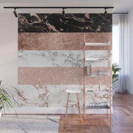 Modern chic color block rose gold marble stripes pattern Wall Mural