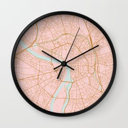 Pink and gold Toulouse map, France Wall Clock