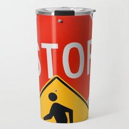 Road Traffic Sign Collage Travel Mug