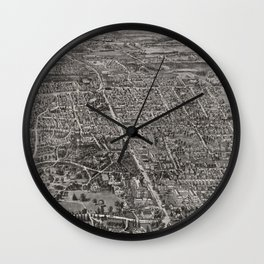 Vintage Pictorial Map of Manchester CT (1914) Wall Clock