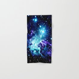 Fox Fur Nebula Turquoise Blue Purple Black Hand & Bath Towel