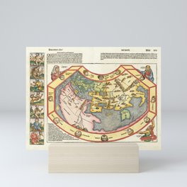 Vintage Map Print - 1493 map of the world by Hartmann Schedel Mini Art Print