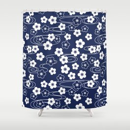 Blue Sakura Kimono Pattern Shower Curtain