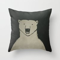 polar bear Throw Pillows featuring Polar Bear by Matt Edward