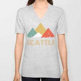 Retro City of Tacoma Mountain Shirt Unisex V-Neck