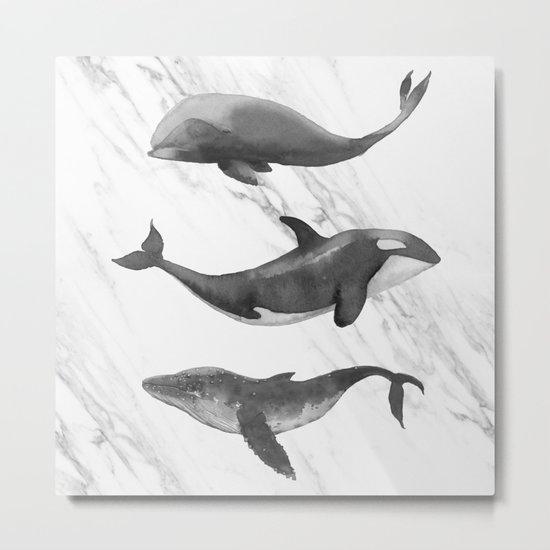 Ocean Whales Marble Black and White Metal Print