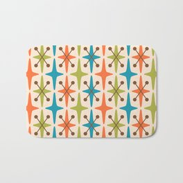 Mid Century Modern Abstract Star Pattern 441 Orange Brown Turquoise Chartreuse Bath Mat