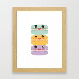 Kawaii macaroon funny orange blue lilac cookie with pink cheeks with pink cheeks and big eyes Framed Art Print