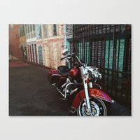 motorcycle Canvas Prints featuring Motorcycle by Kathleen Robertson