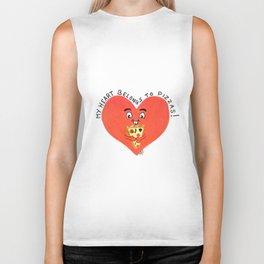 My heart belongs to pizzas Biker Tank